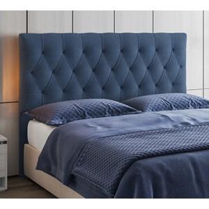 Cabeceira Box Queen Capitone 160 CM Suede Azul Modoval Estofados