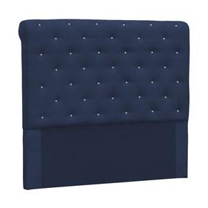 Cabeceira Casal 140cm Buona Notte Suede Azul Com Strass DMonegatto