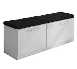 Cabeceira e Calçadeira Sapateira Mille 160 cm Branco Suede Liso Preto Milani Movelaria