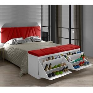 Cabeceira e Calçadeira Sapateira Mille 160 cm Branco Suede Liso Vermelho Milani Movelaria