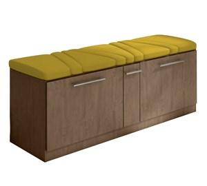 Cabeceira e Calçadeira Sapateira Mille 160 cm Marrom Suede Liso Amarelo Milani Movelaria