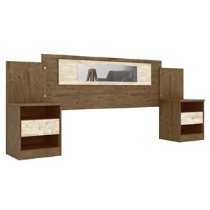 Cabeceira Extensível Com Mesa de Cabeceira Sevilha Castanho Avela Wood Moval
