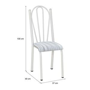 Cadeira Tubular Branca 021 Assento Linho
