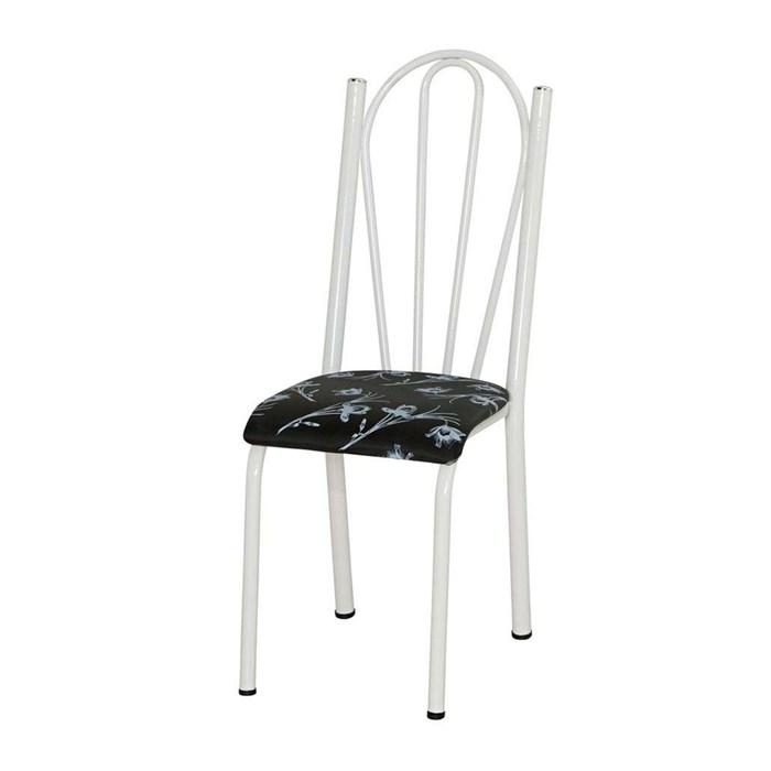 Cadeira Tubular Branca 021 Assento Preto Florido