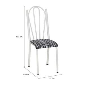 Cadeira Tubular Branca 021 Assento Preto Listrado