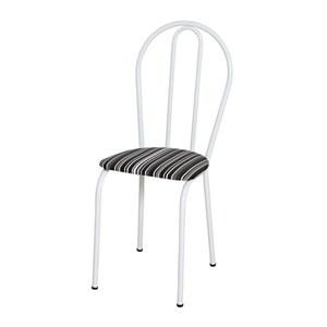 Cadeira Tubular Branco 004 Assento Preto Listrado