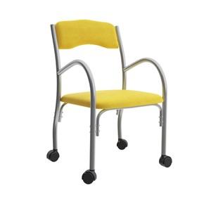 Cadeira Tubular Com Rodizios Stela 170 Amarelo Bona Vita