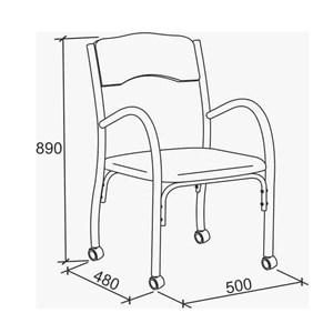 Cadeira Tubular Com Rodizios Stela 170 Preto Bona Vita