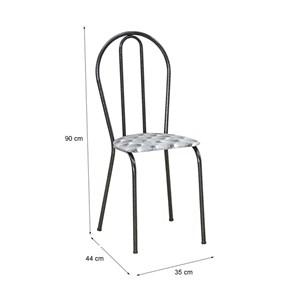 Cadeira Tubular Cromo Preto 004 Assento Capitone
