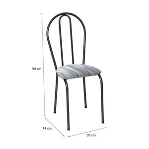 Cadeira Tubular Cromo Preto 004 Assento Linho