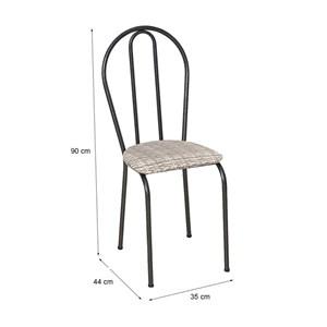 Cadeira Tubular Cromo Preto 004 Assento Rattan