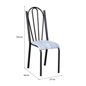 Cadeira Tubular Cromo Preto 021 Assento Linho