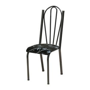 Cadeira Tubular Cromo Preto 021 Assento Preto Florido