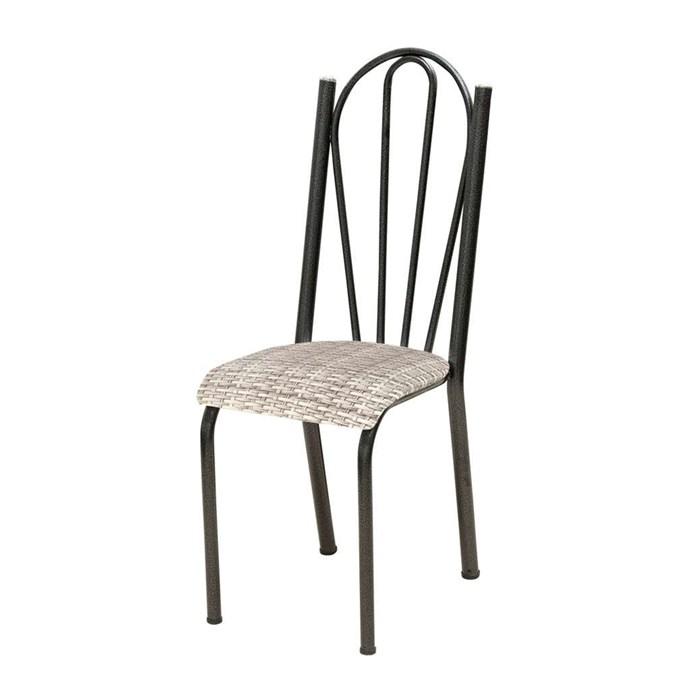 Cadeira Tubular Cromo Preto 021 Assento Rattan