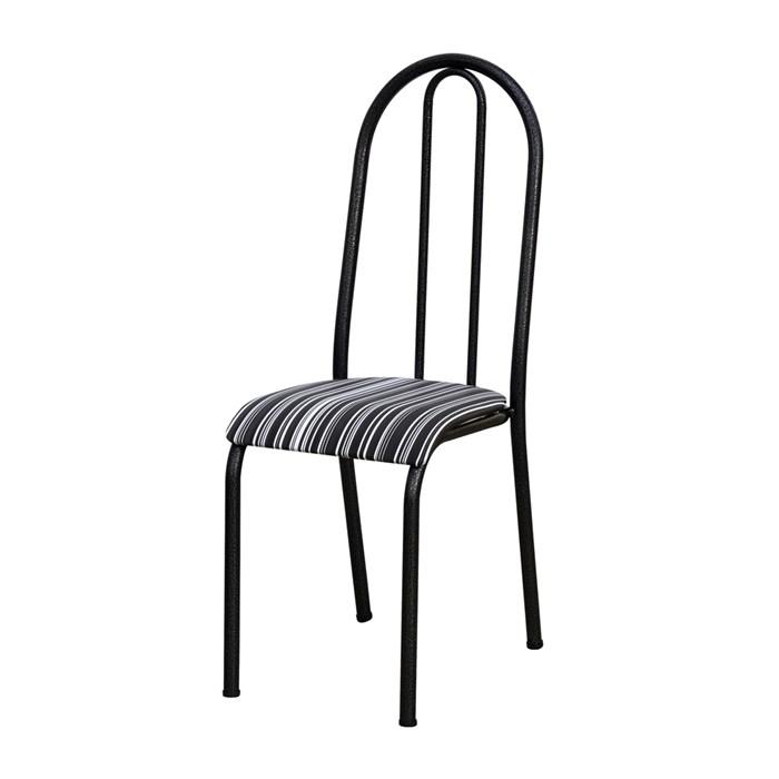 Cadeira Tubular Cromo Preto 056 Assento Preto Listrado