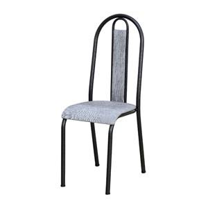 Cadeira Tubular Cromo Preto 058 Assento Grafiato