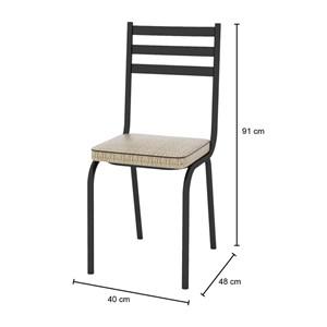 Cadeira Tubular Preto Fosco 118 Assento Rattan