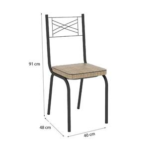 Cadeira Tubular Preto Fosco 119 Assento Rattan