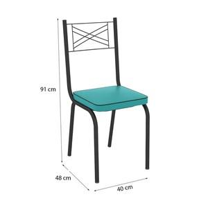 Cadeira Tubular Preto Fosco 119 Assento Turquesa