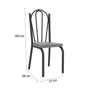 Cadeira Tubular Preto Fosco 121 Assento Platina