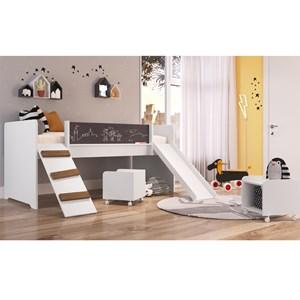 Cama PlayGround Com Escorregador E 02 Nichos BY712 Branco Completa Móveis