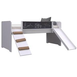 Cama PlayGround Com Escorregador E Rampa BY710 Branca Completa Móveis