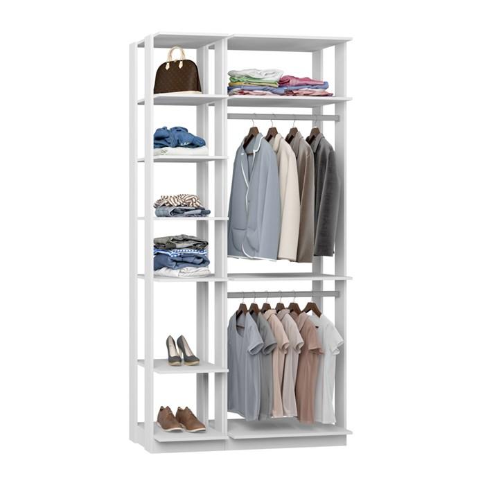 Closet 02 Cabideiros Clothes 9005 Branco Be Mobiliario