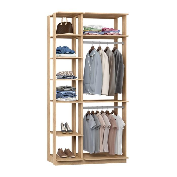 Closet 02 Cabideiros Clothes 9005 Carvalho Mel Be Mobiliario