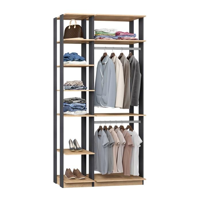 Closet 02 Cabideiros Clothes 9005 Carvalho Mel Espresso Be Mobiliario