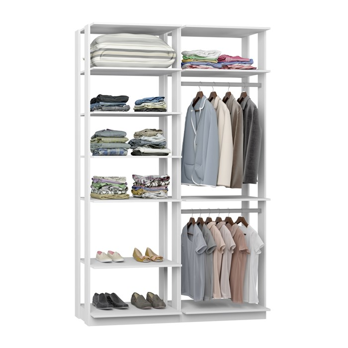 Closet 02 Cabideiros Clothes 9010 Branco Be Mobiliario
