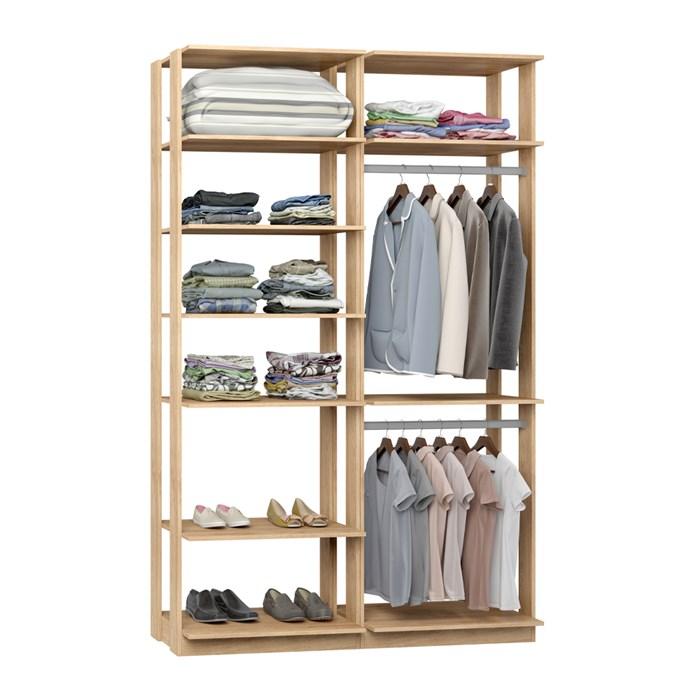 Closet 02 Cabideiros Clothes 9010 Carvalho Mel Be Mobiliario