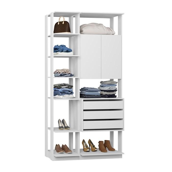 Closet 02 Portas Clothes 9006 Branco Be Mobiliario