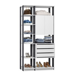 Closet 02 Portas Clothes 9006 Branco Espresso Be Mobiliario
