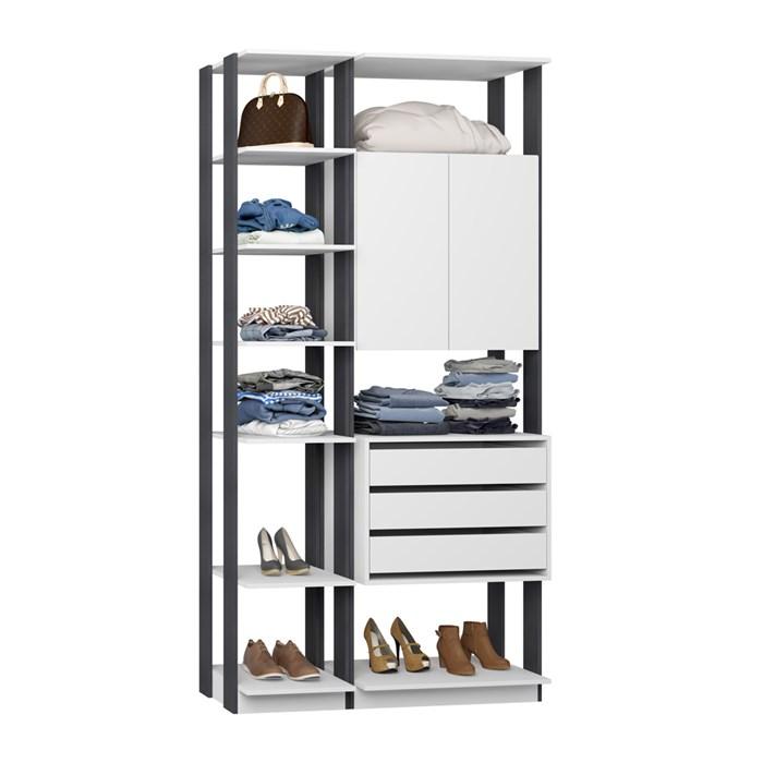 Closet 02 Portas Clothes 9006 Branco Espresso Be Mobiliario