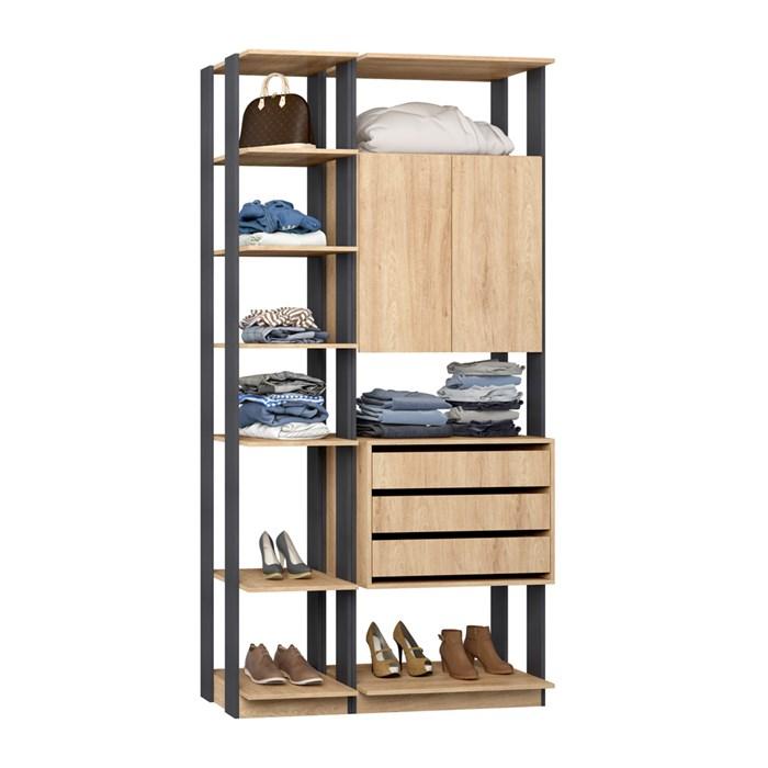 Closet 02 Portas Clothes 9006 Carvalho Mel Espresso Be Mobiliario