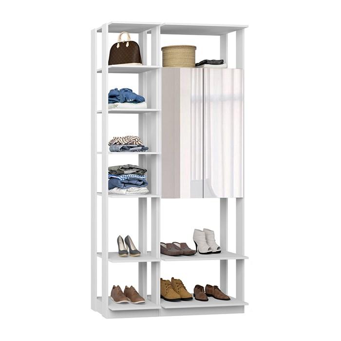 Closet 02 Portas Clothes 9007 Branco Com Espelho Be Mobiliario