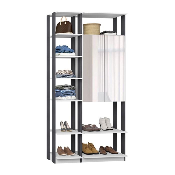 Closet 02 Portas Clothes 9007 Branco Espresso Com Espelho Be Mobiliario