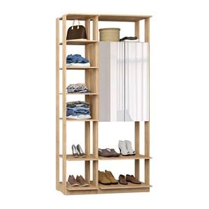 Closet 02 Portas Clothes 9007 Carvalho Mel Com Espelho Be Mobiliario