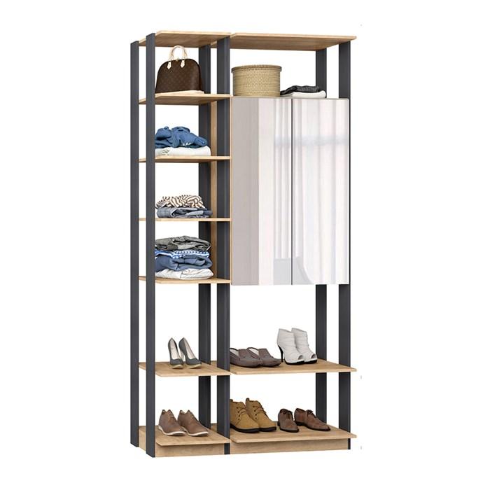 Closet 02 Portas Clothes 9007 Carvalho Mel Espresso Com Espelho Be Mobiliario