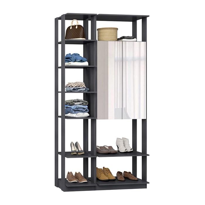 Closet 02 Portas Clothes 9007 Espresso Com Espelho Be Mobiliario