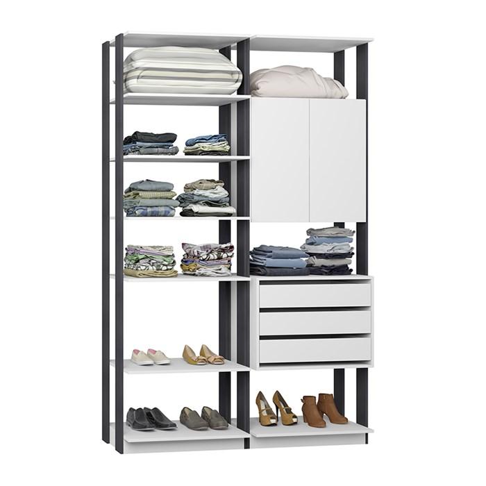 Closet 02 Portas Clothes 9011 Branco Espresso Be Mobiliario