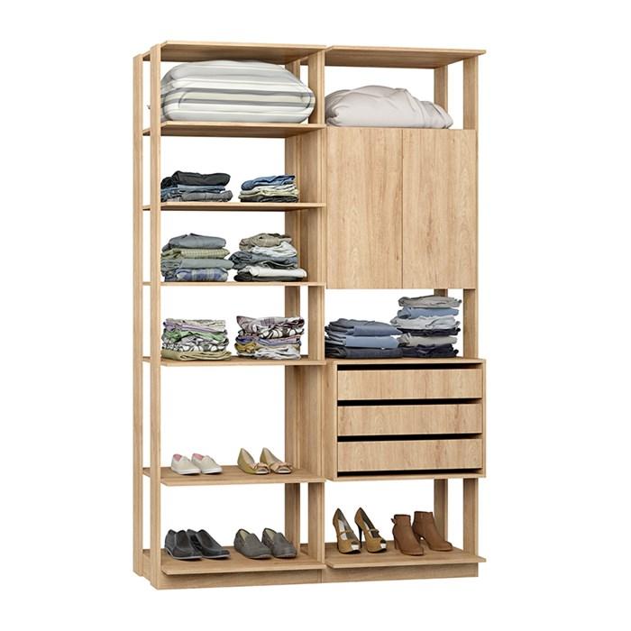 Closet 02 Portas Clothes 9011 Carvalho Mel Be Mobiliario
