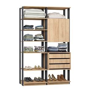 Closet 02 Portas Clothes 9011 Carvalho Mel Espresso Be Mobiliario