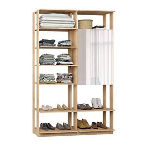 Closet 02 Portas Clothes 9012 Carvalho Mel Com Espelho Be Mobiliario