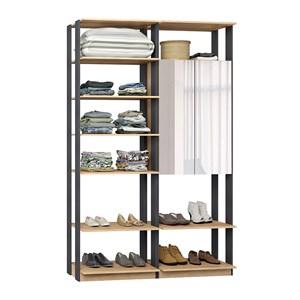 Closet 02 Portas Clothes 9012 Carvalho Mel Espresso Com Espelho Be Mobiliario