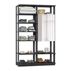 Closet 02 Portas Clothes 9012 Espresso Com Espelho Be Mobiliario