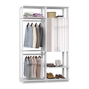 Closet 02 Portas Clothes 9015 Branco Com Espelho Be Mobiliario