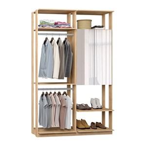 Closet 02 Portas Clothes 9015 Carvalho Mel Com Espelho Be Mobiliario