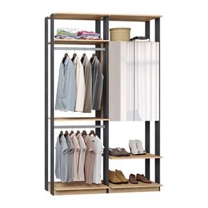 Closet 02 Portas Clothes 9015 Carvalho Mel Espresso Com Espelho Be Mobiliario