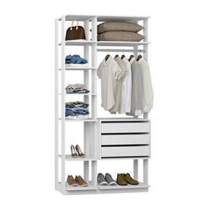Closet 03 Gavetas Clothes 9004 Branco Be Mobiliario